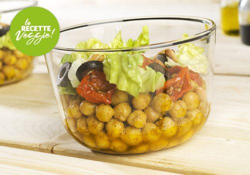 Recette : Salade de pois chiche au curry et au pesto de roquette - EpiSaveurs