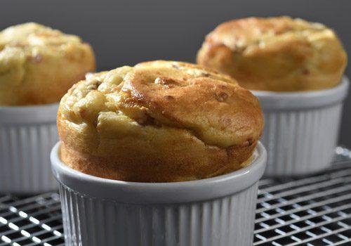 Recette : Soufflés de pomme de terre, fromage,  champignons et jambon - EpiSaveurs
