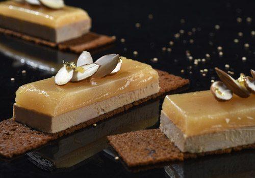 Recette : Foie gras, miroir poire et croustillant de pain d'épices - EpiSaveurs