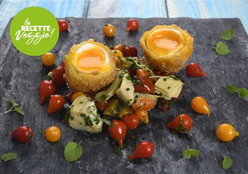 Recette : Salade de légumes confits et œuf pané - EpiSaveurs