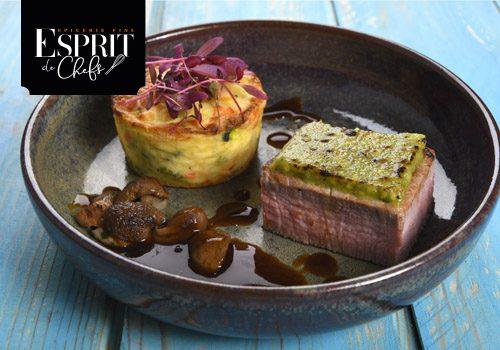 Recette : Pavé de veau en croûte de pistaches et épices, gratin de légumes, jus de veau réduit aux cèpes - EpiSaveurs