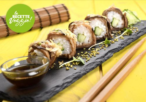 Recette : Maki d'aubergine riz et feta - EpiSaveurs