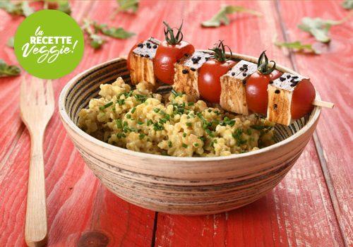 Recette : Tofu snacké, risotto de boulgour à la ciboulette - EpiSaveurs