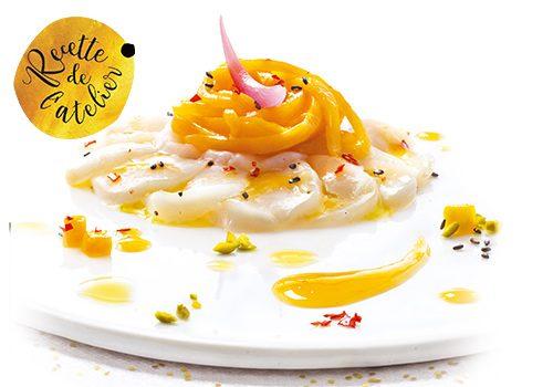 Recette : Carpaccio de Saint-Jacques et brunoise de mangue - EpiSaveurs