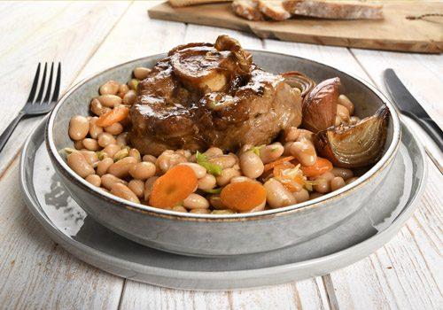 Recette : Jarret de veau braisé, cuisson de haricots blanc au café - EpiSaveurs