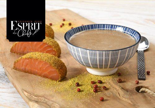 Recette : Crème de lentilles au jus de truffe, saumon au sel fumé des Salish - EpiSaveurs