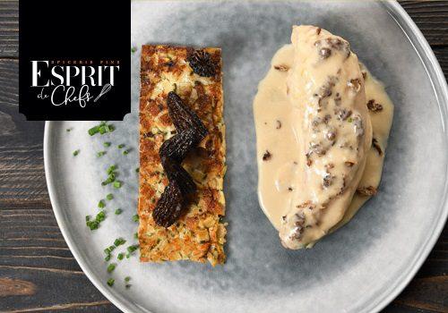 Recette : Volaille de Bresse, crème de Morilles, galet de Crozet au sarrasin - EpiSaveurs