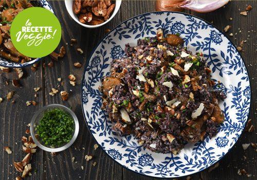 Recette : Riz trois grains crémeux, girolles, cèpes et noix de pécan - EpiSaveurs