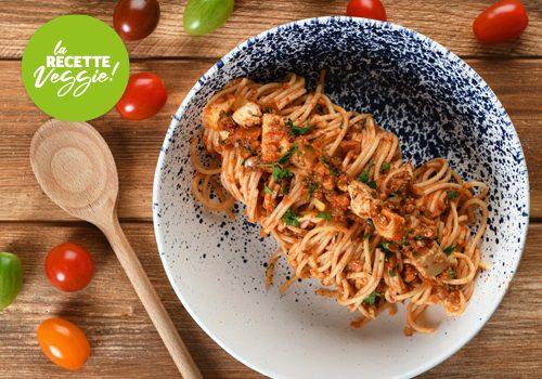 Recette : Pâte à la bolognaise de champignon, artichauts et tofu - EpiSaveurs