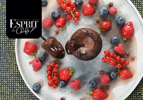 Recette : Cœur coulant Inaya et salade de fruits rouges au vinaigre de grenade - EpiSaveurs