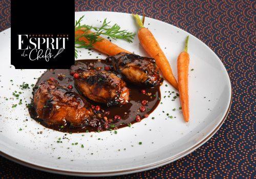 Recette : Filet de caille confit, sauce poivre et chocolat - EpiSaveurs