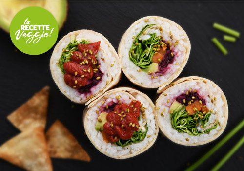 Recette : Burrito sushi farci au kimshi de chou rouge - EpiSaveurs