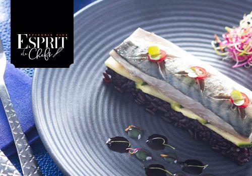 Recette : Filet de maquereau mariné au vinaigre à la grenade sur lit de courgettes sautées et de riz vénéré - EpiSaveurs
