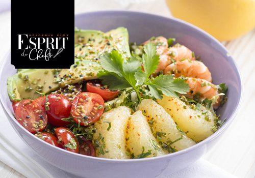 Recette : Salade d'agrume, crevettes et avocats, sauce au vinaigre à la mûre et aux myrtilles - EpiSaveurs
