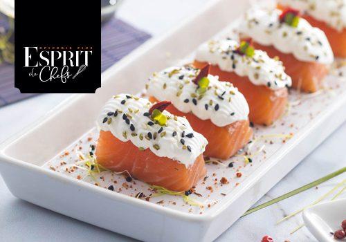 Recette : Saumon mariné au sel fou, yuzu, soja, crème fouettée et graines de sésame au wasabi - EpiSaveurs