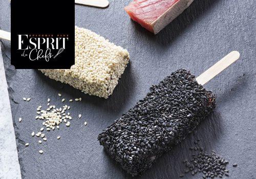 Recette : Thon mi-cuit façon bâtonnet d'esquimaux (vanille/sésame blanc; chocolat/sésame noir) avec bâton à glace - EpiSaveurs