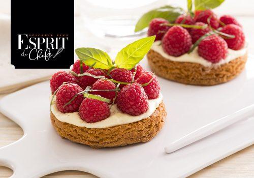 Recette : Tartelette sablée framboise crème chiboust au basilic - EpiSaveurs