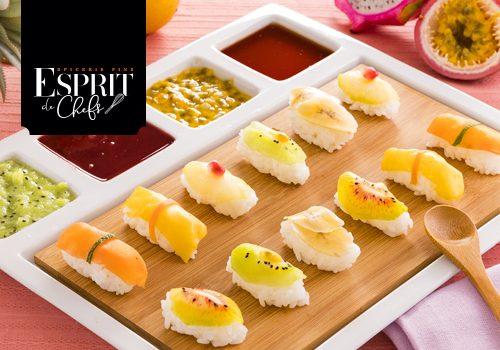 Recette : Sushi de fruits exotique sauce framboise et vinaigre à la pomme - EpiSaveurs