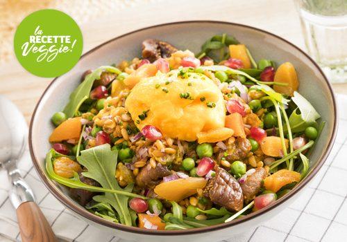 Recette : Salade de farro aux fruits secs et légumes rotis. Condiment à l'orange et carotte. - EpiSaveurs