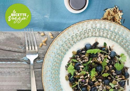 Recette : Salade de riz sauvage aux graines et myrtilles - EpiSaveurs