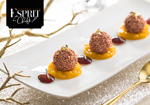 Recette : Sphère de foie gras et graine de sésame a la prune, chutney de mangue et vinaigre grenade - EpiSaveurs