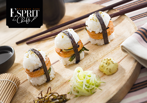 Recette : Saumon laqué au miso et algues au soja / sushi burger - EpiSaveurs